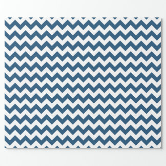 Navy Blue Zigzag Stripes Chevron Pattern Wrapping Paper