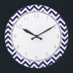 """Navy Blue Zigzag Stripes Pattern Large Clock<br><div class=""""desc"""">Custom designer wall clock features an elegant and trendy chevrons pattern vector illustration. Perfect for your kitchen,  dinning room,  kids bedroom,  nursery,  etc</div>"""
