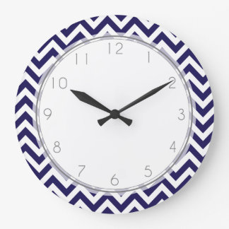 Navy Blue Zigzag Stripes Pattern Large Clock