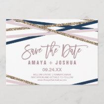 Navy Blush and Gold Streamers Save the Date