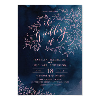 Navy blush calligraphy rustic floral wedding invitation