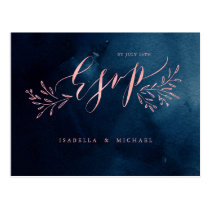 Navy blush calligraphy rustic floral wedding RSVP Postcard