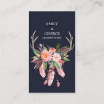 NAVY BLUSH FLORAL FEATHER ANTLER WEDDING THANK YOU BUSINESS CARD