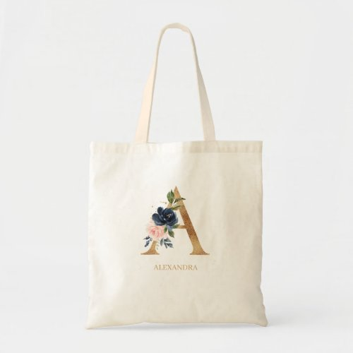 Navy Blush Floral Monogram Letter A Personalized Tote Bag