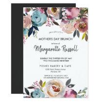 Navy & Blush Floral Mother's Day Brunch Invitation
