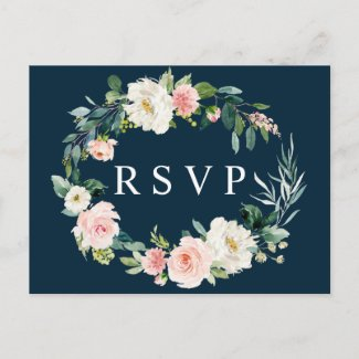 Navy Blush Floral Wreath Wedding RSVP Postcard