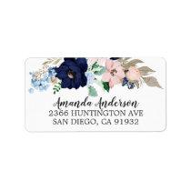 Navy & Blush Flowers Bridal Shower Labels
