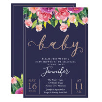 Navy Blush Magenta Floral Baby Shower Invitation