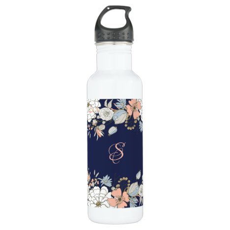 Navy Blush Pink Blue Floral Monogram Personalized Stainless Steel Water Bottle