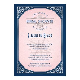 Navy Blush Pink Silver Vintage Frame Bridal Shower Personalized Invites