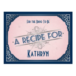 Navy Blush Pink Vintage Recipe Card for the Bride