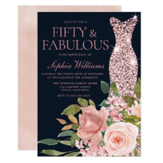 Navy & Blush Rose Gold Dress Floral 50th Birthday Invitation
