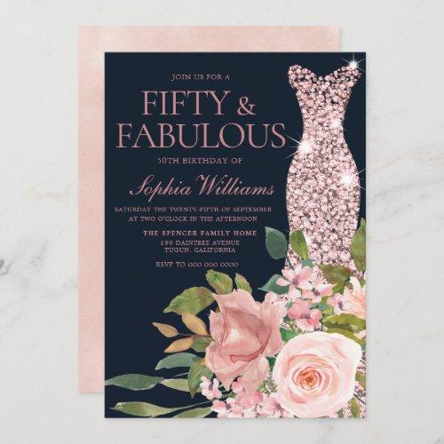 Navy  Blush Rose Gold Dress Floral 50th Birthday Invitation