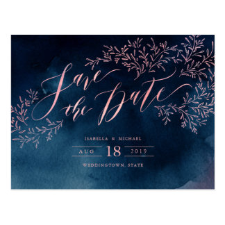 Navy blush rustic floral calligraphy save the date postcard