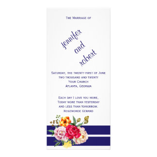 Navy Blush Stripes and Flowers Wedding Program