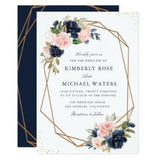 Navy & blush watercolor floral geometric wedding invitation