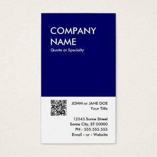 navy bold design your own QR code Business Card