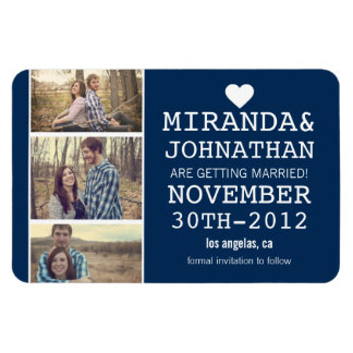 Navy Bold Photo Strip Save The Date  Magnet
