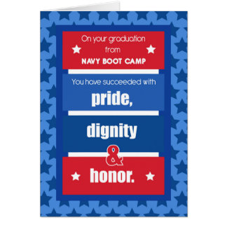 Navy Boot Camp Graduation Congratulations Red, Whi Card