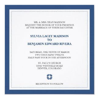 Navy border square traditional wedding invitation