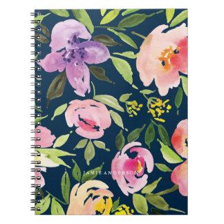 Navy Botanical Floral Notebook