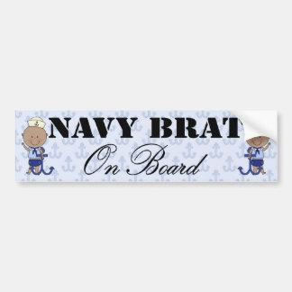 Navy Brat On Board Boy (Dark Skin) Bumper Sticker