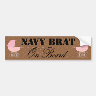 Navy Brat On Board Pink Buggy Bumper Stickers