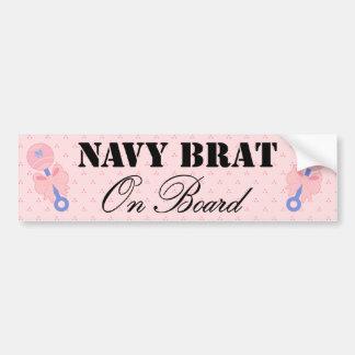 Navy Brat On Board Pink Rattle Car Bumper Sticker