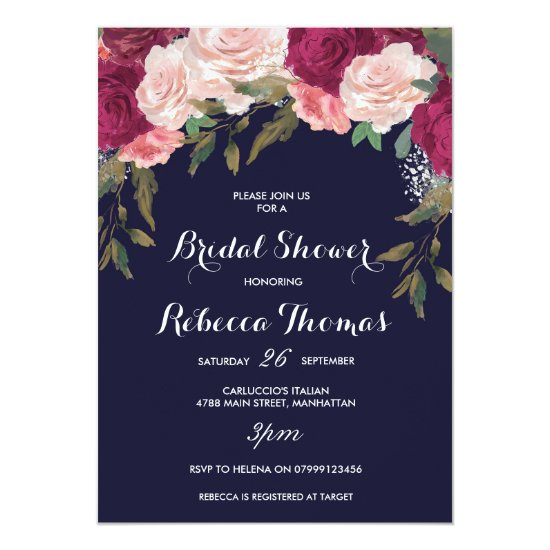 Navy bridal shower invitation burgundy pink floral