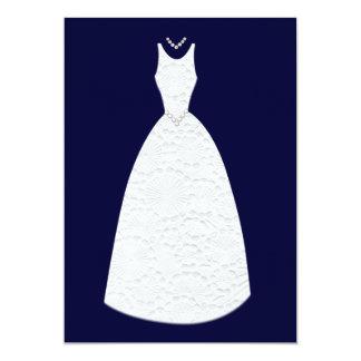 Navy Bridal Shower Vintage White Wedding Dress Card