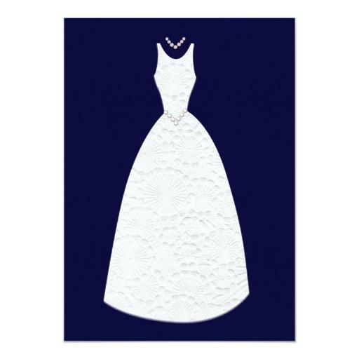 Navy Bridal Shower Vintage White Wedding Dress Invitation