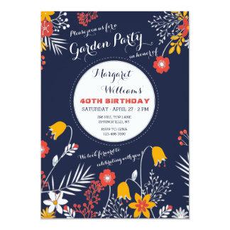 Navy Bright-eyed Flowers Invitation