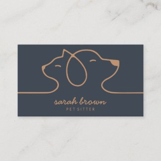 Navy Brown Dog Cat Pet Linear Logo Business Card