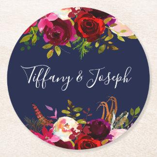 Navy Burgundy Elegant Floral Spring Garden Wedding Round Paper Coaster