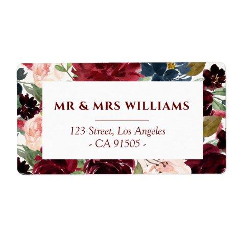 Navy burgundy floral address label