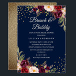 """Navy Burgundy Floral Confetti Brunch and Bubbly Invitation<br><div class=""""desc"""">More pretty Floral Bridal Shower Invitations in the Little Bayleigh store!</div>"""