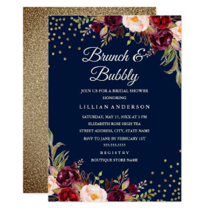 Brunch and bubbly invitations announcements zazzle navy burgundy floral confetti brunch and bubbly invitation stopboris Gallery