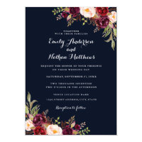 Navy Burgundy Floral Fall Wedding Invitation
