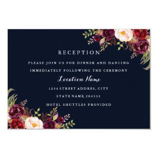 Navy Burgundy Floral Fall Wedding Reception Card
