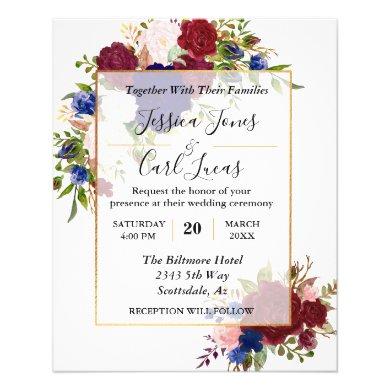 Navy Burgundy Gold Frame Gold Wedding Invitation Flyer