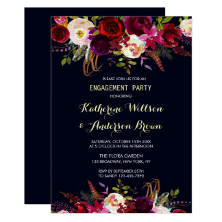 Navy Burgundy Marsala Boho Fall Engagement Party Card