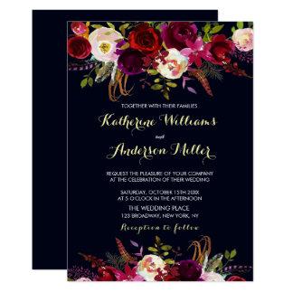 Navy Burgundy Marsala Boho Floral Autumn Wedding Invitation