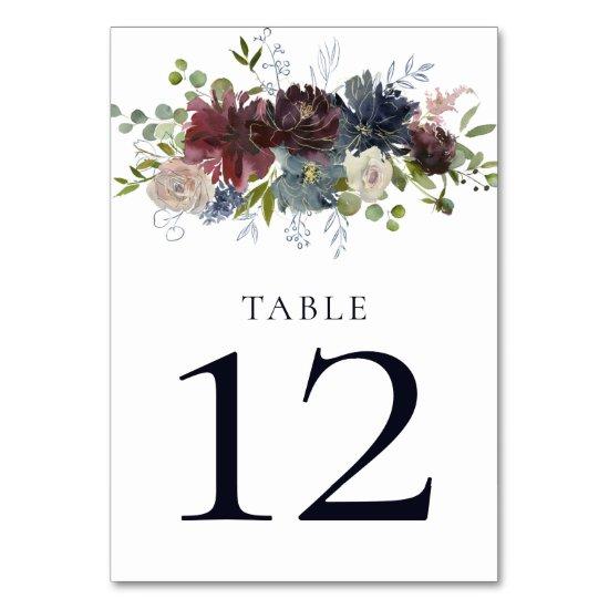 Navy Burgundy Marsala Gold Greenery Wedding Table Number