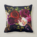 "Navy Burgundy Marsala Rustic Bohemian Floral Throw Pillow<br><div class=""desc"">CHANGEABLE BACKGROUND COLOR. Bohemian style Throw Pillow featuring watercolor illustration of burgundy,  marsala,  red and pink peonies and roses with feathers accent on navy blue background. This is perfect for fall/autumn/winter,  floral and bohemian style events. Matching items are also available.</div>"