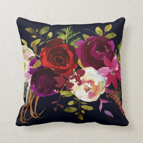 Navy Burgundy Marsala Rustic Bohemian Floral Throw Pillow