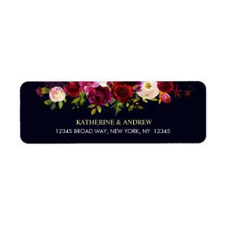 Navy Burgundy Marsala Rustic Boho Floral Address Label