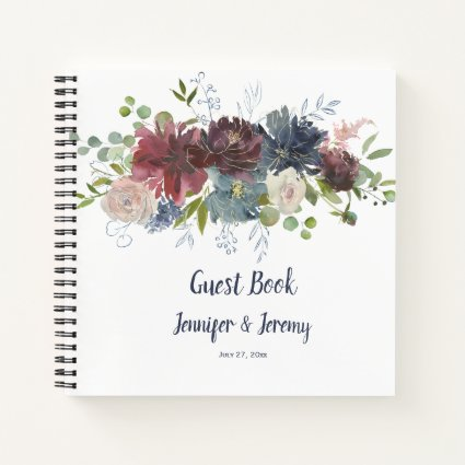 Navy Burgundy Rose Gold Floral Header Guest Book