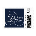 Navy Calligraphic Love - Customize Color Postage
