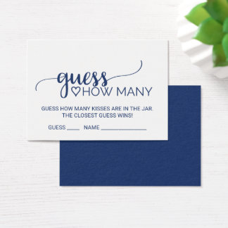 Navy Calligraphy Guess How Many Kisses Game Cards