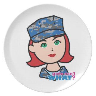 Navy Camo Head Light Red Dinner Plate